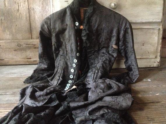 Victorian Silk Damask Jacket Bustle Black Chantil… - image 1