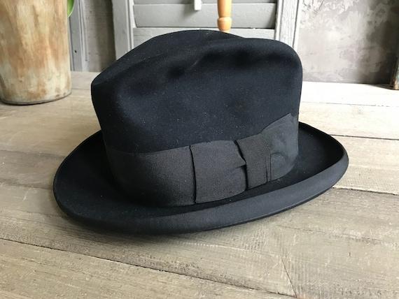 Black Felt Fedora Hat, Made in England, 1940s Vint