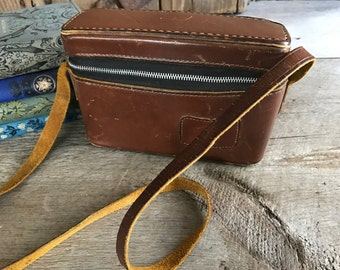 Leather Camera Case, Travel Case, Leather Carry Strap, California Saddle