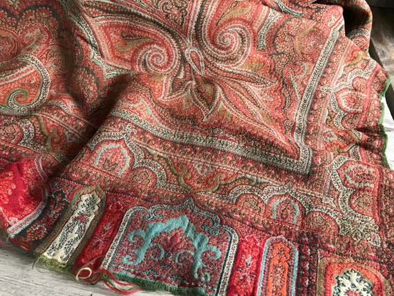 Paisley Wool Scarf Shawl, 19th Century, Blanket Sc