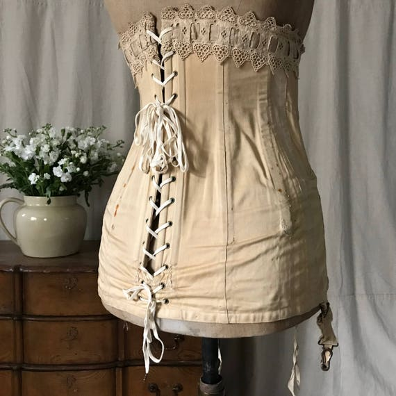 Edwardian Corset, Antique Cotton Lace Corset, Ear… - image 2