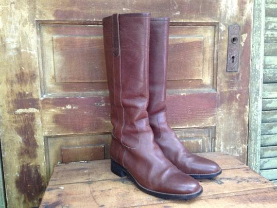 Bottes d'équitation en cuir marron, Made Made Made in Italy, bottes d'équitation haut, femmes taille 9 nous | Coût Modéré  597048