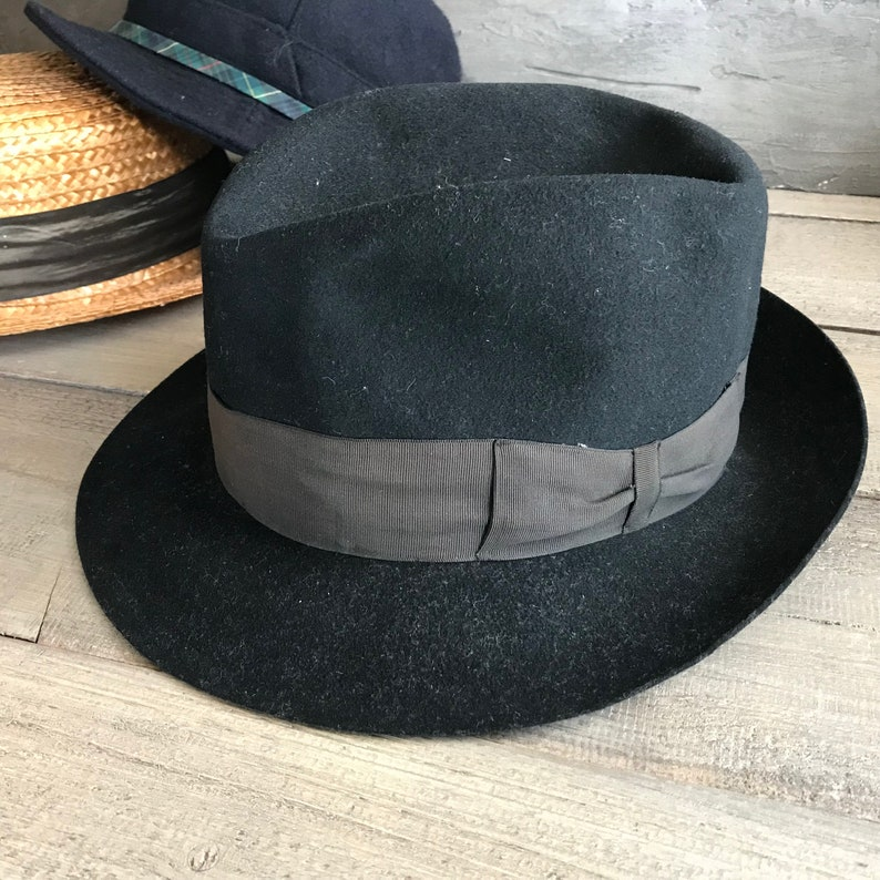 1940s French Black Fedora Hat Felted Wool Carcassonne  cb5334b0bf39