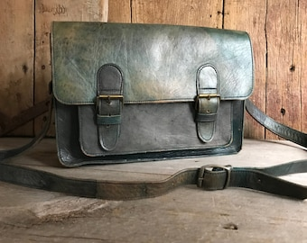 Rustic Dark Bottle Green Leather Briefcase, Satchel Bag, Mini Briefcase