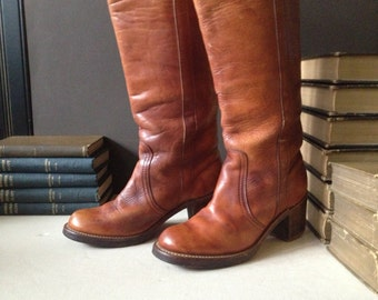 1960s Frye Leather Boots Cognac Brown Campus Size 5.5 US