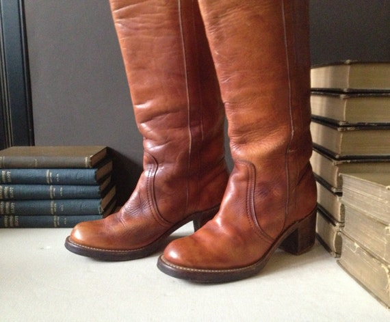 c0debf8f820 1960s Frye Leather Boots Cognac Brown Campus Size 5.5 US