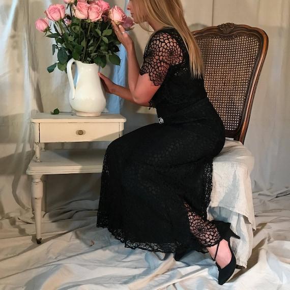 Art Deco 1930s Black Dress, Floral Lace, Formal Dr