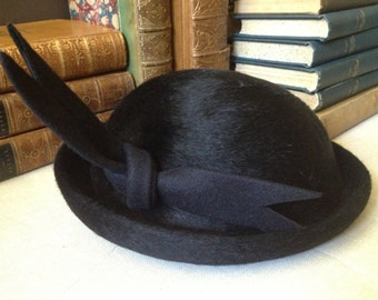Ladies Black Wool Derby Hat, Italy New York Black 100 Wool Felt Derby Hat