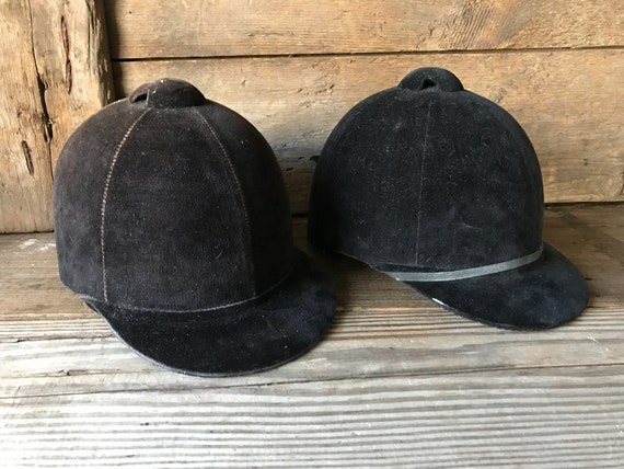 Vintage Equestrian Riding Hat Black or Brown Velve