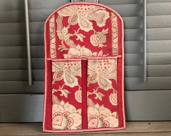 French Textile Boudoir Wall Pocket, Sewing, Shoes, Brushes, Fabric Covered Storage Case