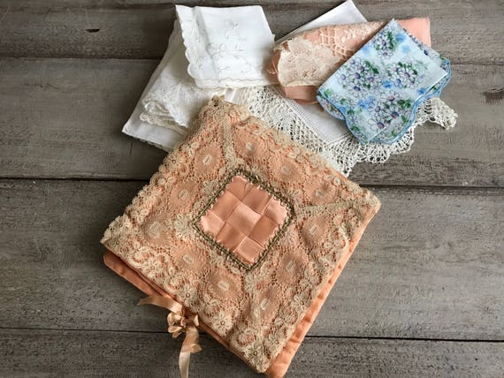 Antique Handkerchief Boudoir Case, Peach Silk, Lac
