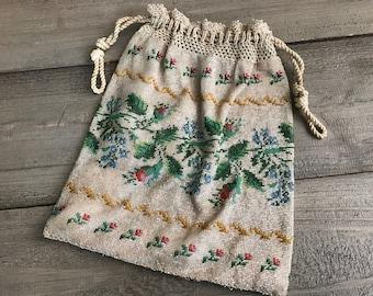 Antique Glass Micro Beaded Purse, Rose Buds, Floral Drawstring Handbag