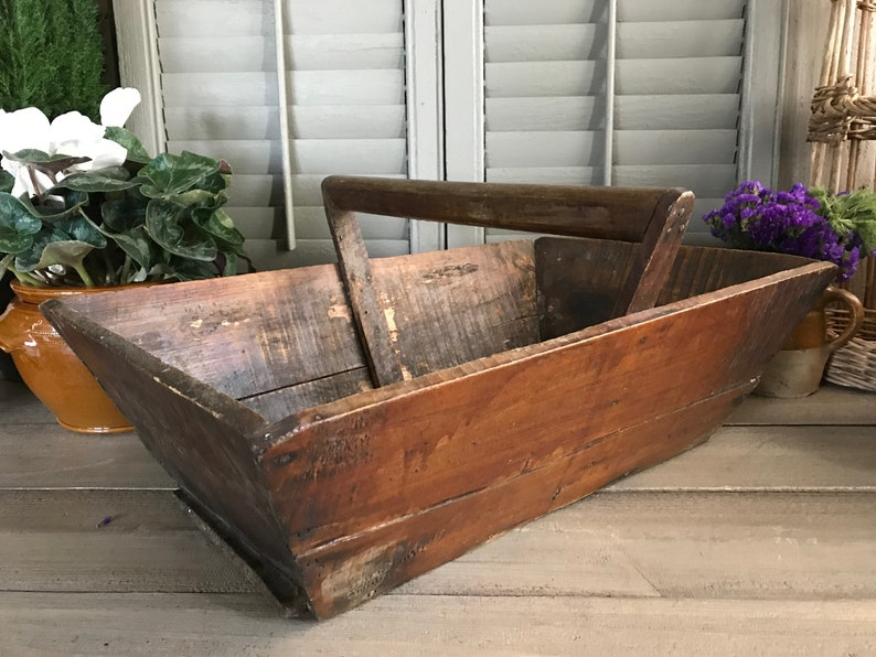 Français rustique bois jardin Trug, cueillette panier, poignée en bois,  outils de jardin, plateau de plante, organisateur de stockage, ferme ...
