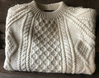 Vintage Cable Wool Aran Crew Neck Pullover Sweater Size M L