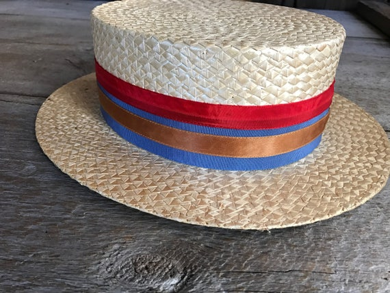 Antique French 1920s Straw Boater Hat Red Blue Ribbon Bow  5f5828d6bcff