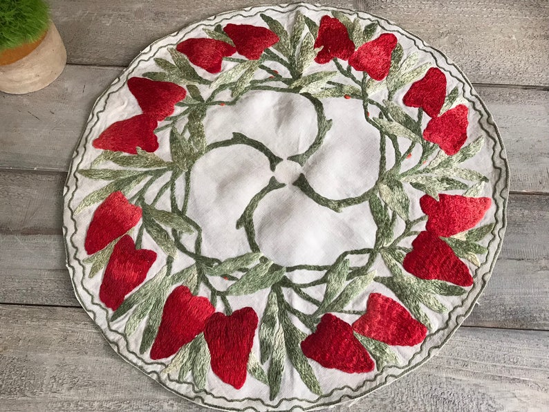 Craftsman Table Centerpiece Mat Mission Arts and Crafts Embroidered Linen Table Cover Centerpiece