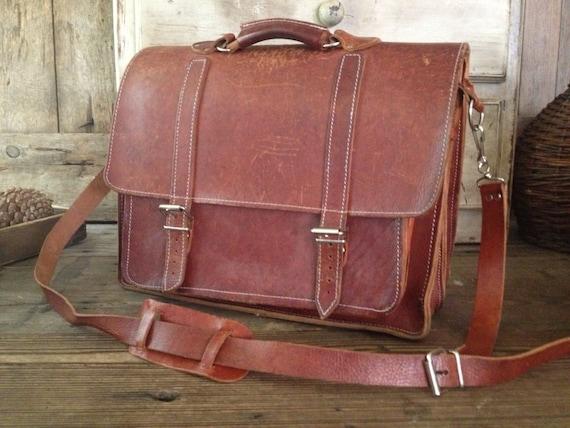 86d04cf7b63 Rustic Brown Leather Briefcase Commuter Bag Laptop Bag   Etsy
