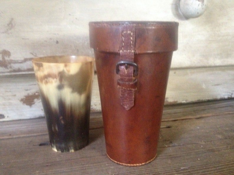 dad17fc241 English Leather Travel Flask Case Faux Horn Drinking Cup