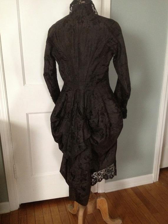 Victorian Silk Damask Jacket Bustle Black Chantil… - image 3