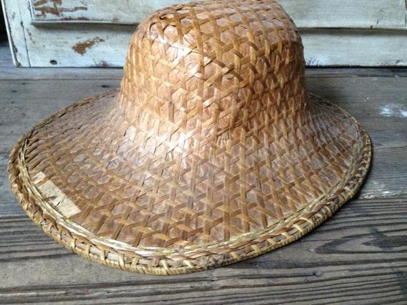 Chinese Rattan Straw Hat, Rickshaw Hat, Garden Sun