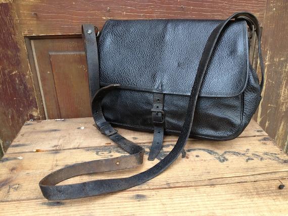 French Leather Engineer Case Bag Messenger Telegraph Railway Tool Satchel