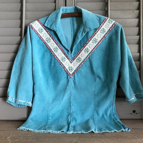 Southwestern, Turquoise Corduroy Shirt, Californi… - image 2