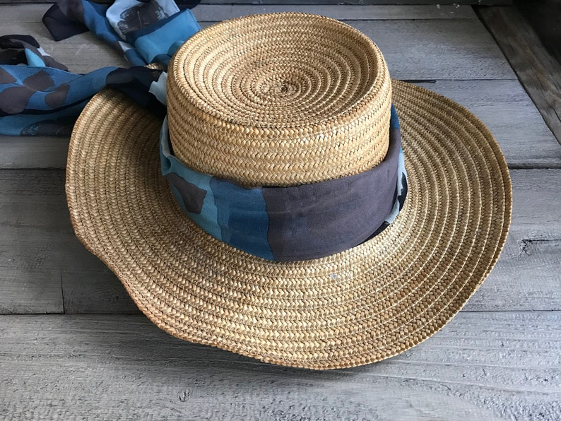 0d937287e7d Authentic French Straw Hat Wide Brim Sun Hat Gardeners Hat