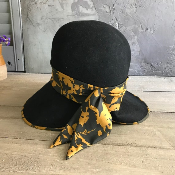 1960s Mr John Jr Black Felt Hat, Wide Floppy Brim