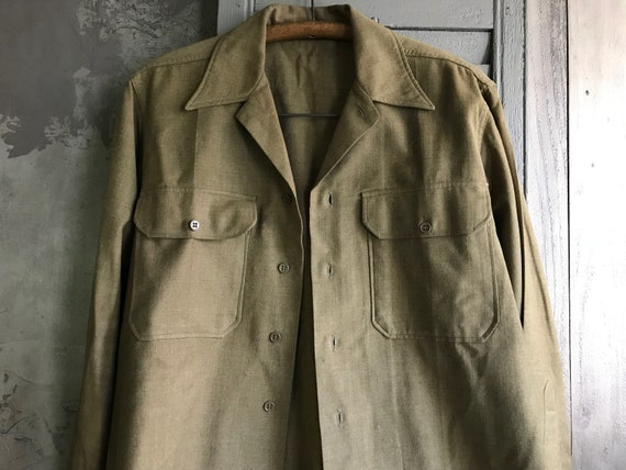 1940s Wool Khaki Mens Shirt, Military Uniform, WWI