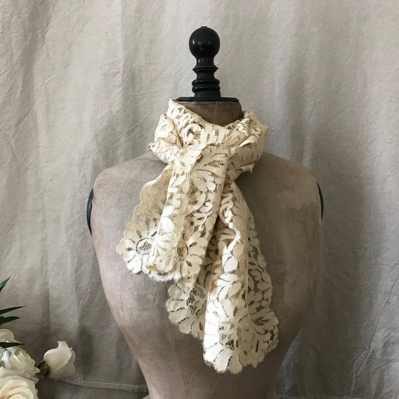 Victorian Floral Lace Silk Stole, Shawl, Jabot, Co