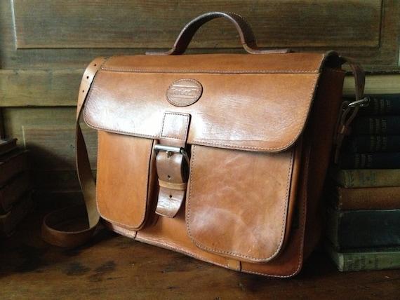 1970s Brown Leather Handbag Saddlebag Mini Briefca