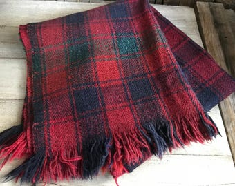Vintage Wool Camp Blanket, Throw, Rug, Cabin Decor, Red Blue Green Plaid, Twin Bed