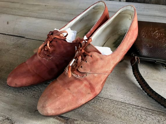 Edwardian Victorian Oxford Shoes, Antique Fabric L