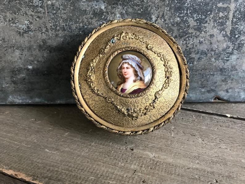 KH Gold Gilt Dresser Box French Ormolu Boudoir Jewelry Casket Ladies Portrait Patch Box