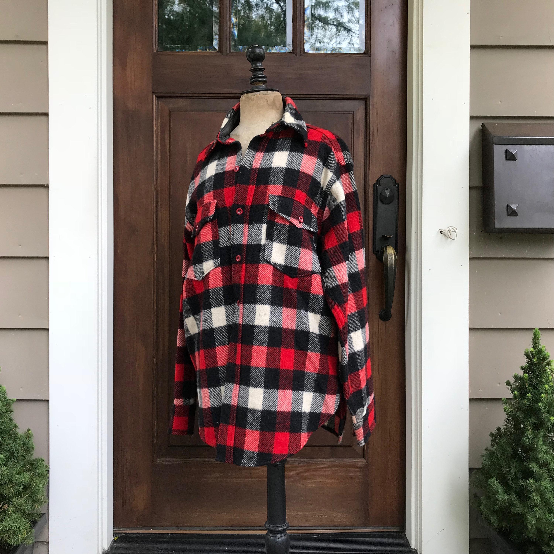 1940s Men's Shirts, Sweaters, Vests Mid Century Flannel Shirt, Woolen Mills, Red Black Plaid Wool 1940S 1950S, Mens Size M $115.00 AT vintagedancer.com