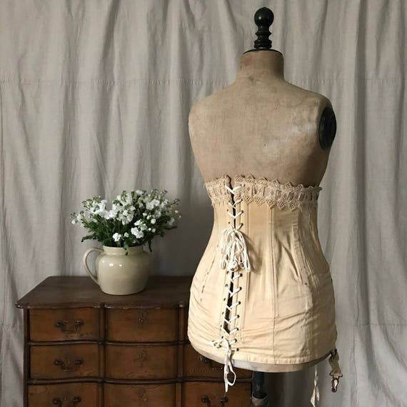 Edwardian Corset, Antique Cotton Lace Corset, Earl