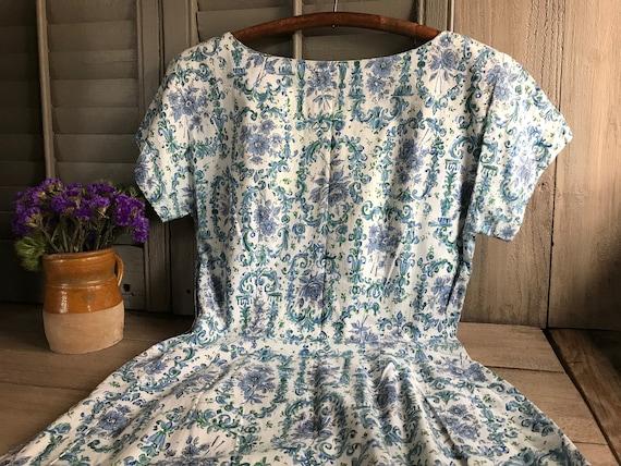 1950s Floral Cotton Dress, Day Dress, House Dress,