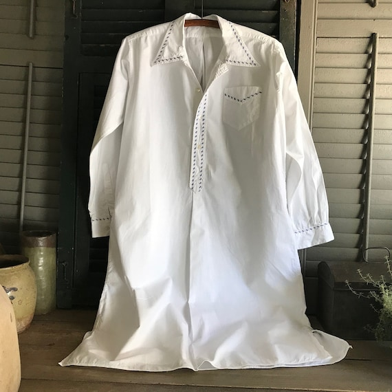 French White Linen Shirt, Chemise, Nightgown, Nigh