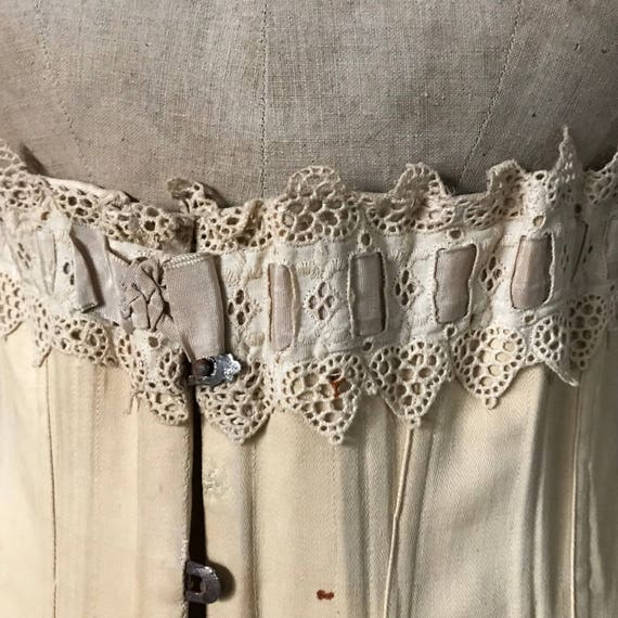 Edwardian Corset, Antique Cotton Lace Corset, Ear… - image 9