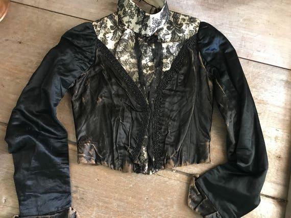 Antique Black Jacket, Victorian Steampunk, 1800s S