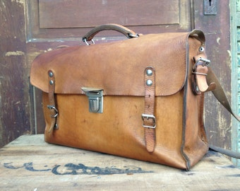 Reserved Brown Leather Messenger Bag, Rustic Sienna Brown Leather School Satchel Messenger Briefcase