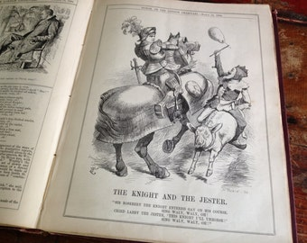 1894 Book Political Satire and Daily News, Punch Vol CVI Jan, June Hardcover, Victorian London Lifestyle Illustrations