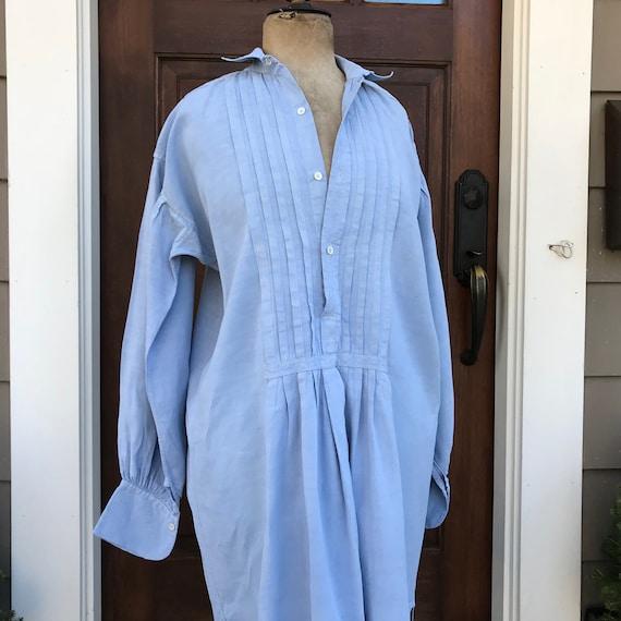 French Linen Chemise, Nightshirt, Faded Indigo Blu