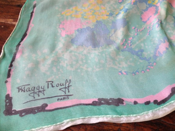 Maggy Rouff Paris France, Couture Designer Scarf,