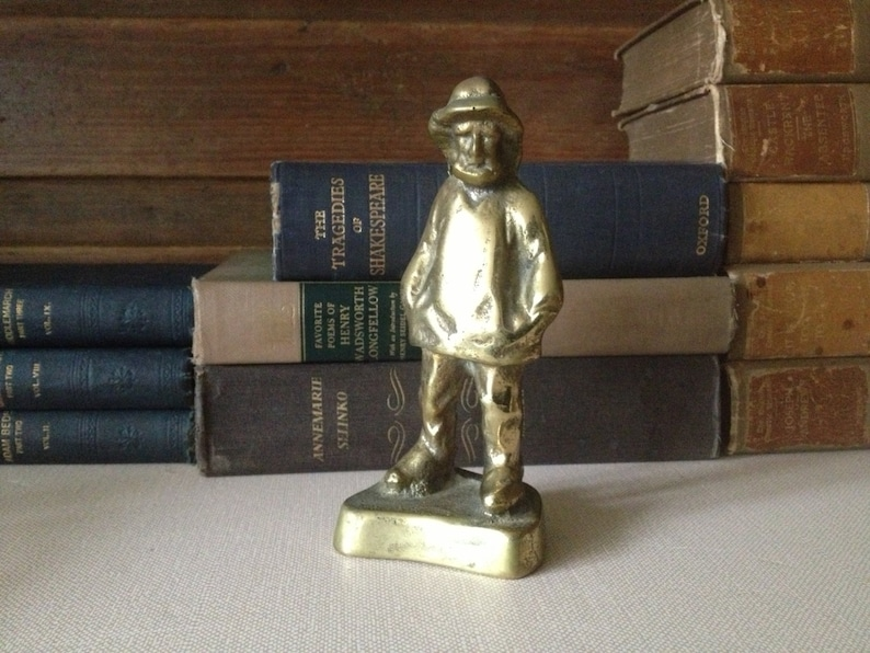 Vintage Portland Maine ~ Peterson Solid Brass Fisherman Sculpture Statue ~  Nautical Paper Weight