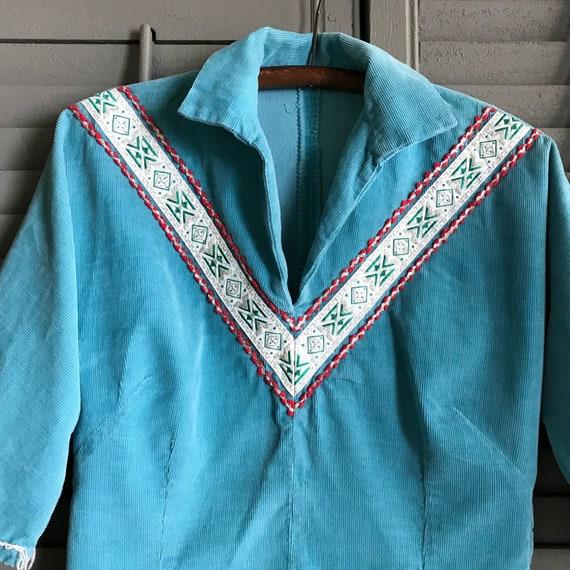 Southwestern, Turquoise Corduroy Shirt, Californi… - image 5