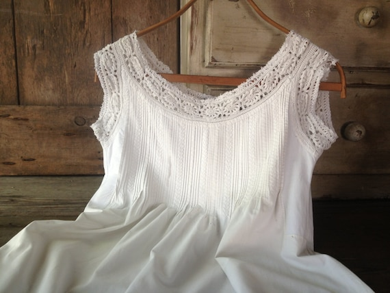 f76f28e736 French Linen Lace Chemise Nightgown White Nightdress