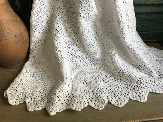 Antique Provence Linen Skirt, Hand Knit, French Fa