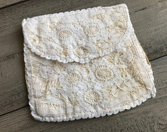 Antique French Lace Evening Purse, Floral Design, Bridal Wedding Accessory, Oyster Cream