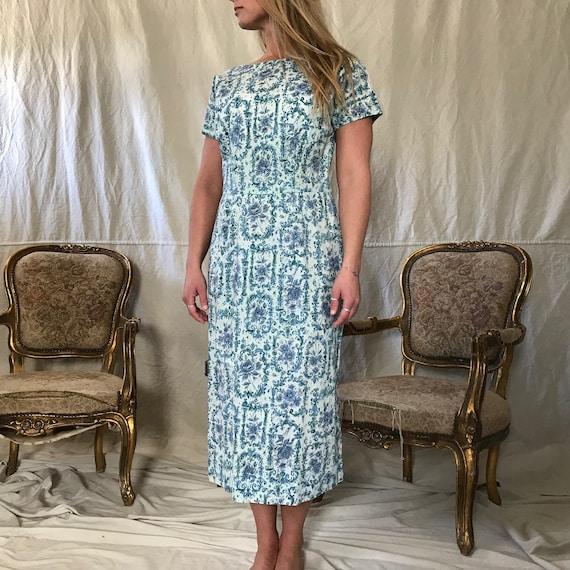1950s Floral Cotton Dress, Day Dress, House Dress… - image 3
